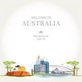 Panorama de Austrália do fundo ilustração do vetor
