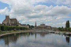 Panorama de Auxerre Foto de archivo libre de regalías