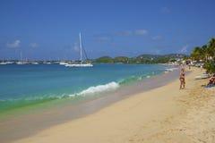 Panorama de baie de Rodney au St Lucia, des Caraïbes Photographie stock