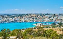 Panorama de baie de Marsaxlokk, Malte photo stock