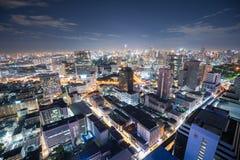 Panorama de Bangkok la nuit Photo stock