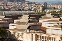 Panorama de Barcelona del nivel del tejado Foto de archivo