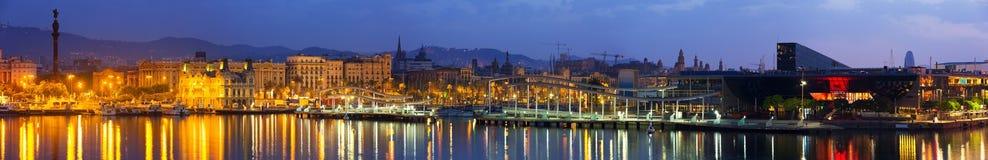 Panorama de Barcelona del puerto Vell Imagen de archivo libre de regalías