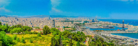 Panorama de Barcelone Photographie stock libre de droits