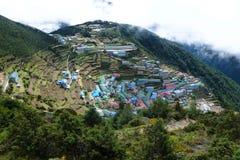 Panorama de bazar de Namche, voyage de camp de base d'Everest, Népal images stock