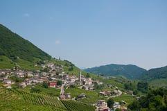 Panorama de beaux paysages de valdobbiadene image stock
