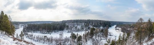 Panorama in de beken van natuurreservaatolenyi in het gebied van Sverdlovsk stock foto