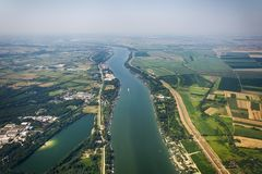Panorama de Belgrade avec une vue de l'avion Image libre de droits