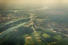 Panorama de Belgrade avec une vue de l'avion Photo stock