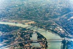 Panorama de Belgrade avec une vue de l'avion Photographie stock