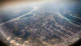 Panorama de Belgrade avec une vue de l'avion Images libres de droits