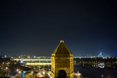 Panorama de Belgrade, Serbie, dans une soirée d'hiver vue de la forteresse de Kalemegdan Images libres de droits