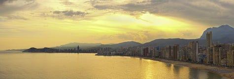 Panorama de Benidorm no por do sol Foto de Stock Royalty Free