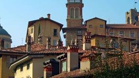 Panorama de Bergamo velho, Itália Bergamo, igualmente chamado dei Mille de La Citt, ` a cidade dos mil `, é uma cidade dentro filme