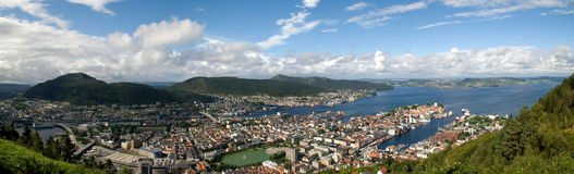 Panorama de Bergen Photo stock