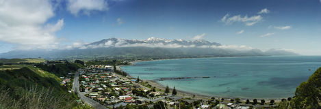 Panorama de bord de la mer de Kaikoura Photo stock