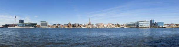 Panorama de bord de mer d'Aarhus Image stock