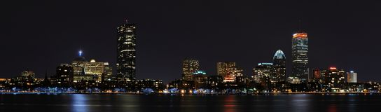 Panorama de Boston da noite Fotos de Stock