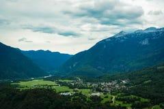 Panorama de Bovec Fotos de archivo libres de regalías
