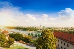 Panorama de Bratislava et de Danube Photographie stock libre de droits