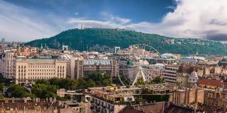 Panorama de Budapest Hongrie, vue à la citadelle Image libre de droits
