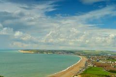 Panorama de côte anglaise par Seaford Photographie stock