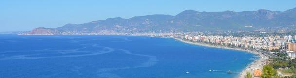 Panorama de côte d'Alanya Images libres de droits