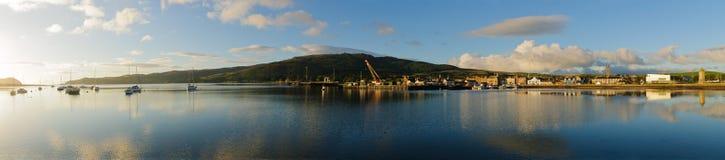 Panorama de Cambeltown, puerto de Escocia Imagen de archivo libre de regalías