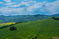 Panorama de campos verdes da parte superior do Polônia de Bolkow do castelo Foto de Stock Royalty Free