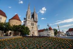 Panorama de cathédrale de Zagreb photographie stock libre de droits
