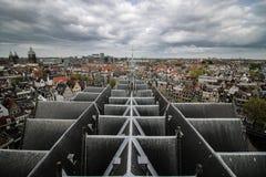 Panorama de cathédrale de dessus de toit d'Amsterdam photographie stock