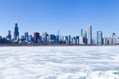 Panorama de Chicago en invierno foto de archivo