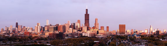 Panorama de Chicago no por do sol Fotografia de Stock Royalty Free