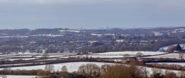 Panorama de Chippenham en la nieve fotografía de archivo