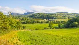 Panorama de colinas, de la orilla y de alrededores de un lago en un parque nacional en Irlanda fotografía de archivo libre de regalías