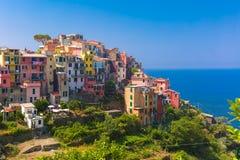 Panorama de Corniglia, Cinque Terre, Liguria, Italia Imágenes de archivo libres de regalías