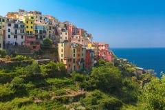 Panorama de Corniglia, Cinque Terre, Liguria, Italia Foto de archivo