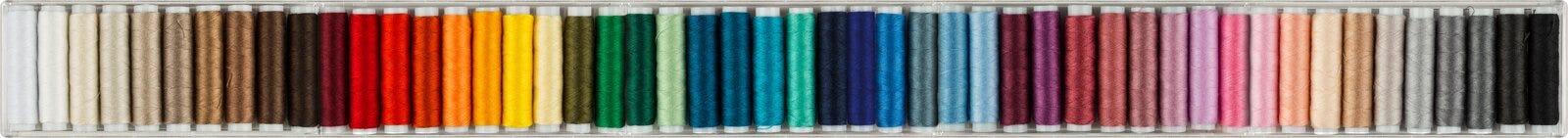 Panorama de costura colorido de los algodones imagen de archivo
