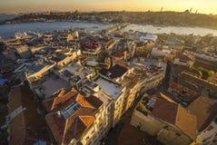 Panorama de coucher du soleil d'Istanbul Photographie stock