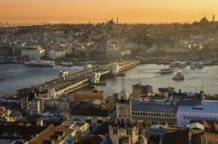 Panorama de coucher du soleil d'Istanbul Images libres de droits