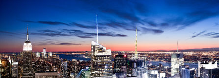 Panorama de coucher du soleil de Manhattan Photo stock