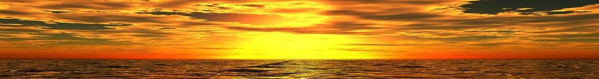 Panorama de coucher du soleil de mer Images stock