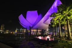 Panorama de coucher du soleil de Singapour Photo stock