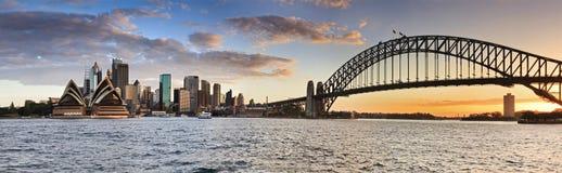 Panorama de coucher du soleil de Sydney Kiribilli CBD photos libres de droits