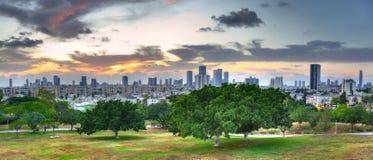 Panorama de coucher du soleil de Tel Aviv, Israël Images stock