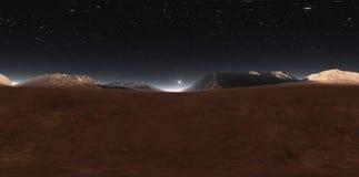 Panorama de coucher du soleil de Mars, carte de l'environnement HDRI Projection d'Equirectangular, panorama sphérique Paysage mar illustration libre de droits