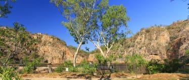 Panorama - de dalingen van Edith, het Nationale Park van Nitmiluk, Noordelijk Grondgebied, Australië stock fotografie