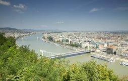 Panorama de Danubio en Budapest Foto de archivo libre de regalías