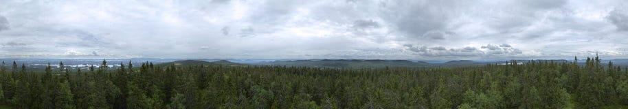 Panorama de 360 degrés de surveillance sur Granberget dans Vaermland, Suède Image libre de droits
