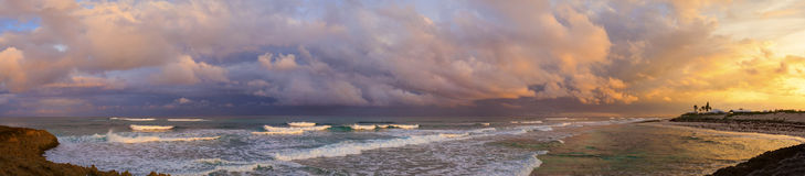 panorama de 180 degrés des Bahamas Photos stock